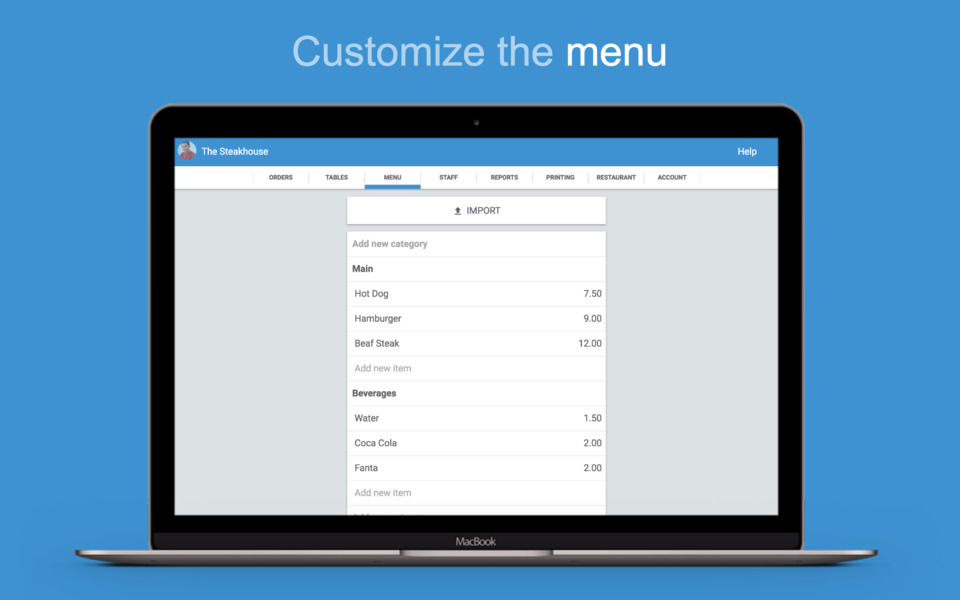 Customize the <b>menu</b>